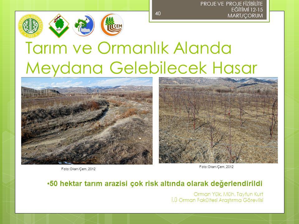 Tarım ve Ormanlık Alanda Meydana Gelebilecek Hasar