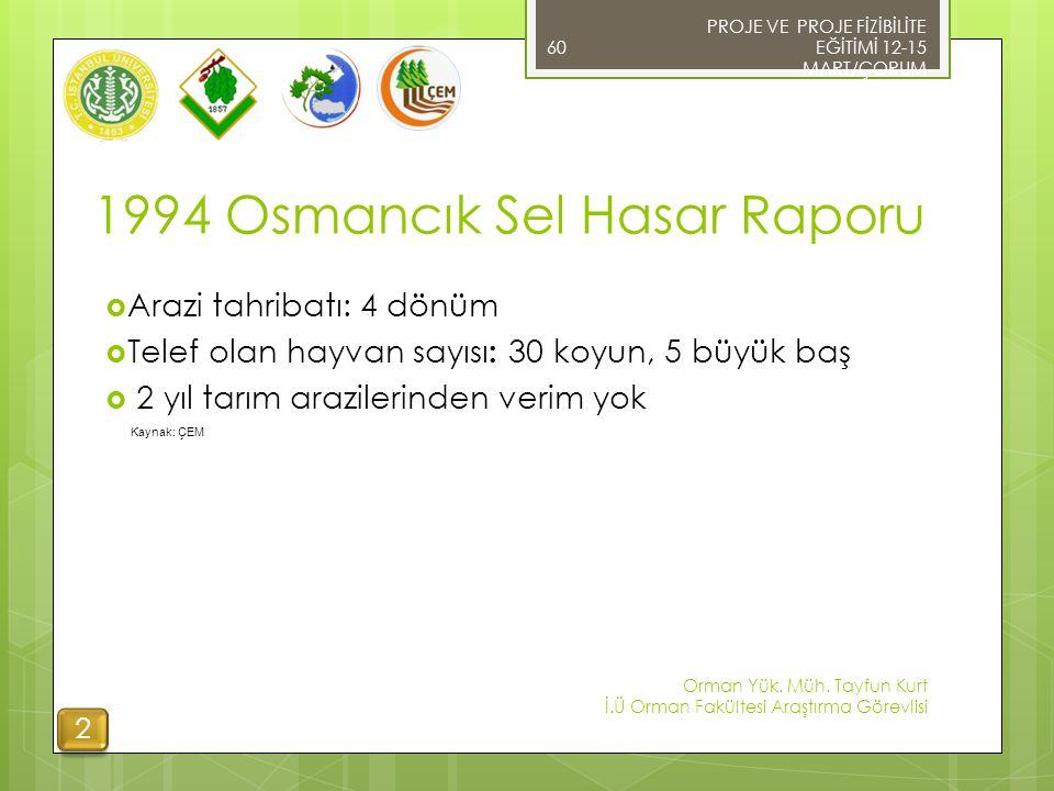 1994 Osmancık Sel Hasar Raporu