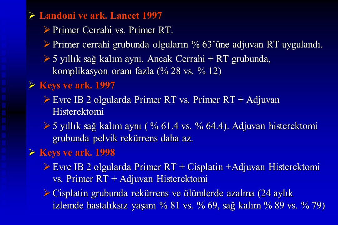 Landoni ve ark. Lancet 1997 Primer Cerrahi vs. Primer RT. Primer cerrahi grubunda olguların % 63'üne adjuvan RT uygulandı.