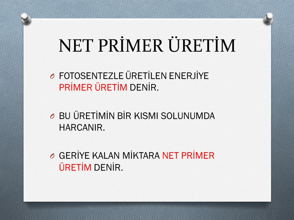 NET PRİMER ÜRETİM FOTOSENTEZLE ÜRETİLEN ENERJİYE PRİMER ÜRETİM DENİR.