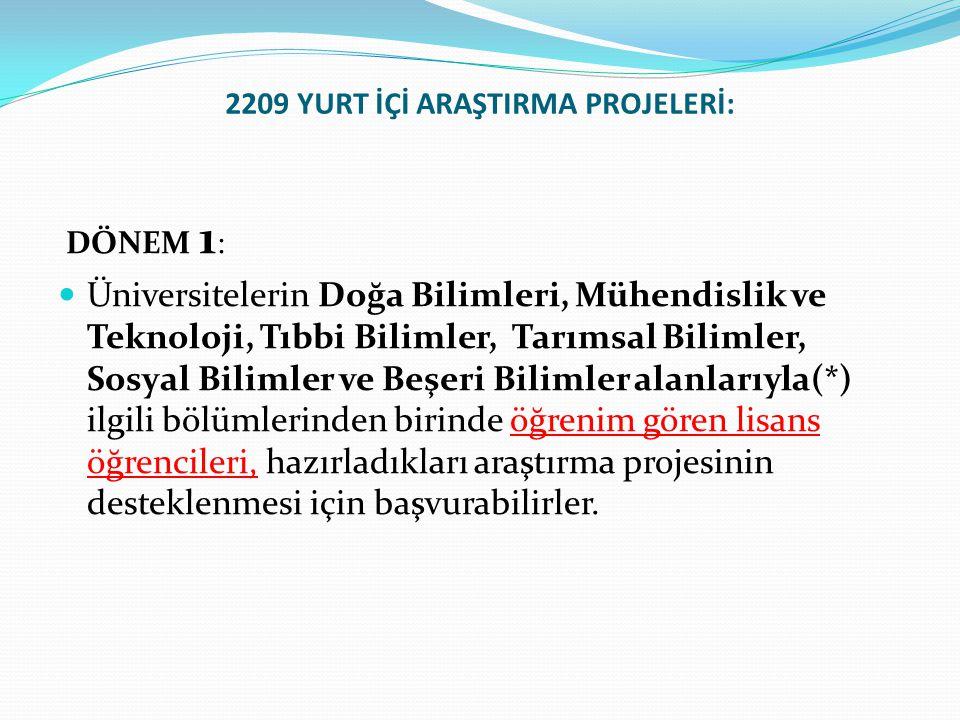 2209 YURT İÇİ ARAŞTIRMA PROJELERİ: