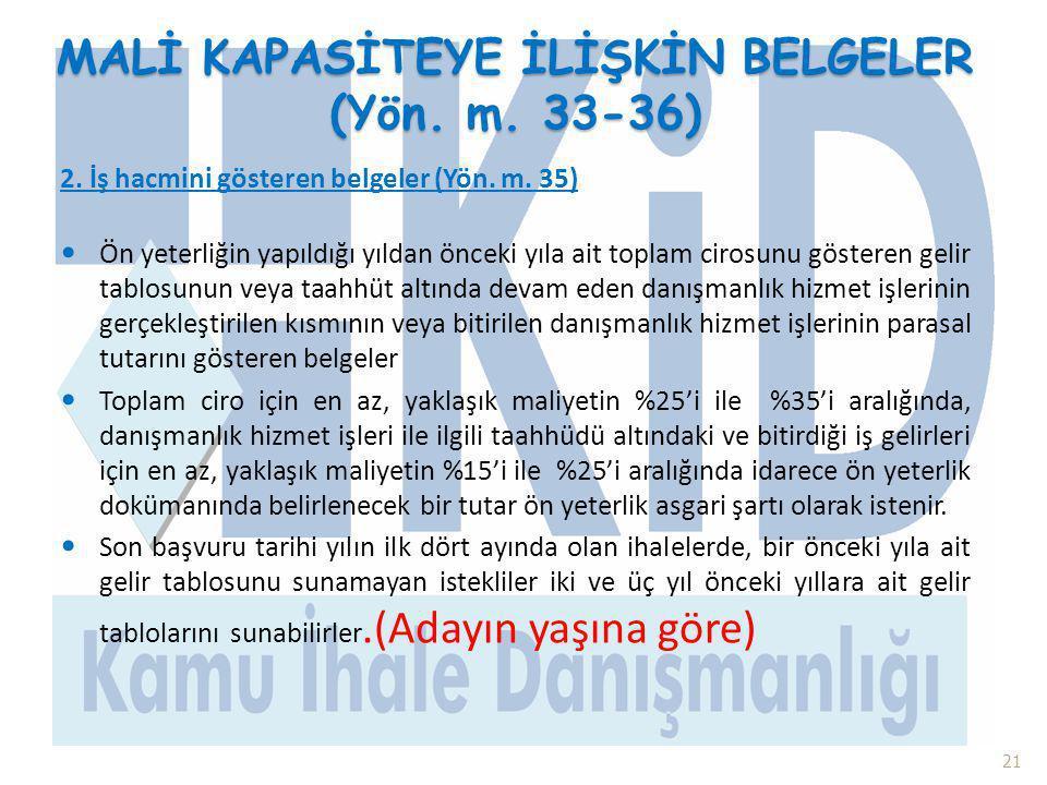 MALİ KAPASİTEYE İLİŞKİN BELGELER (Yön. m. 33-36)