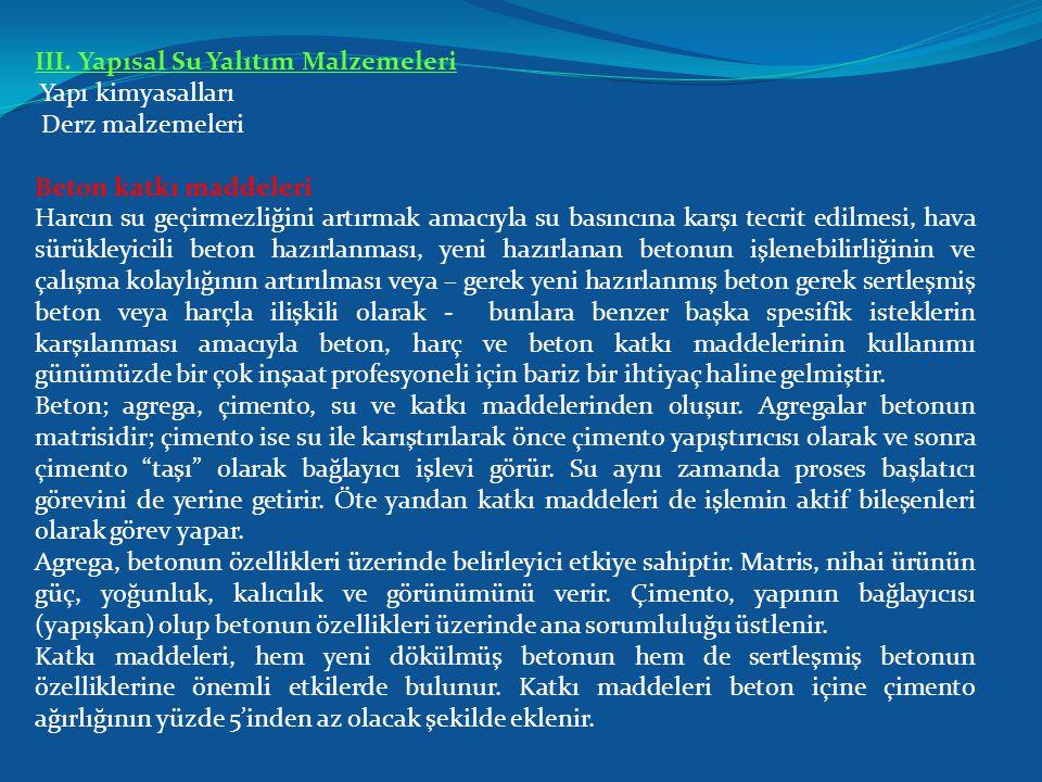 III. Yapısal Su Yalıtım Malzemeleri