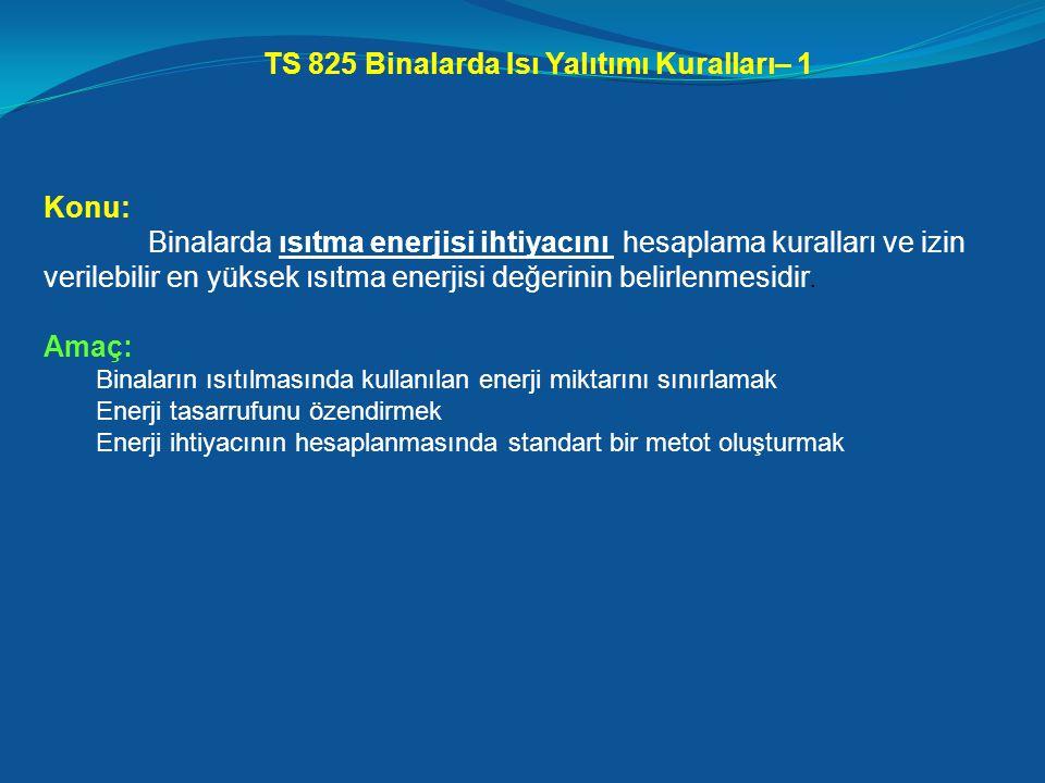 TS 825 Binalarda Isı Yalıtımı Kuralları– 1