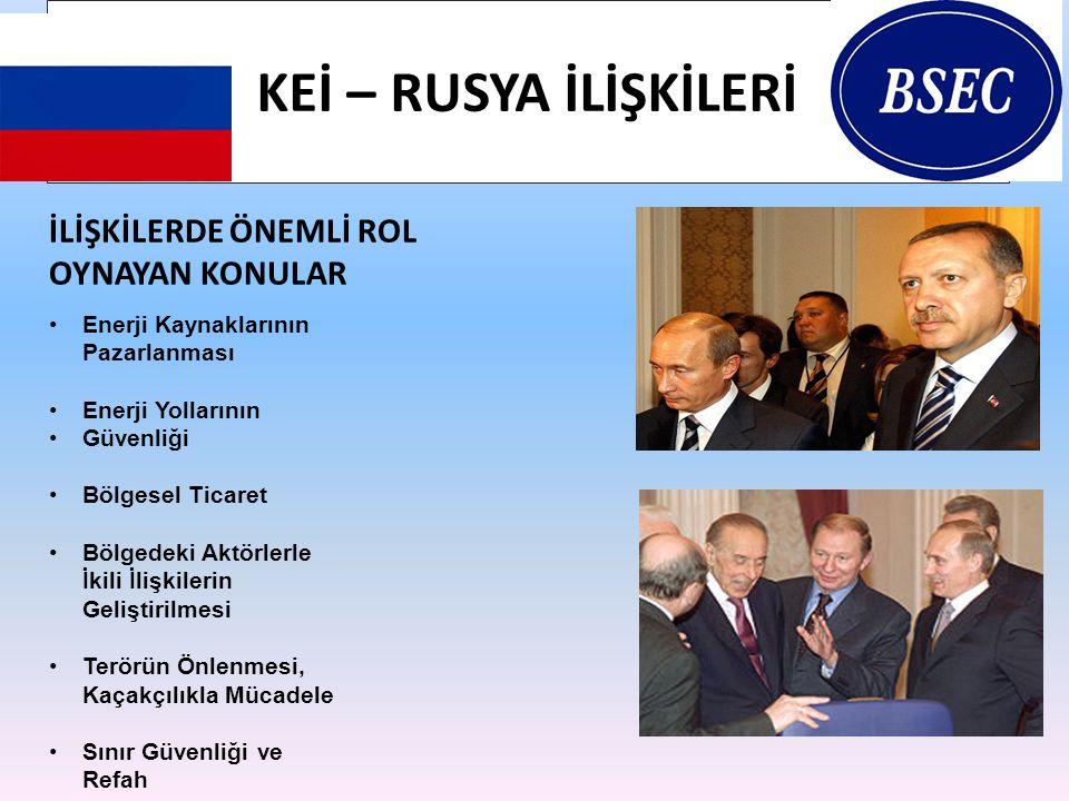 KEİ – RUSYA İLİŞKİLERİ İLİŞKİLERDE ÖNEMLİ ROL OYNAYAN KONULAR