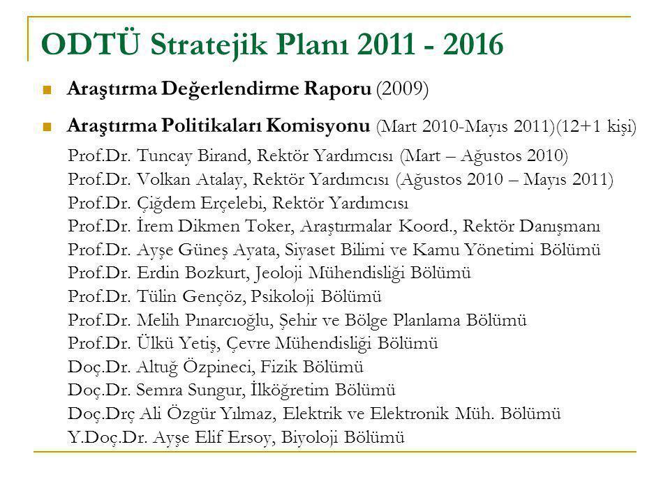 ODTÜ Stratejik Planı 2011 - 2016 Araştırma Değerlendirme Raporu (2009)