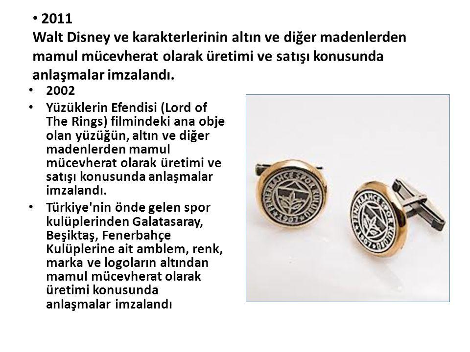 2011 Walt Disney ve karakterlerinin altın ve diğer madenlerden mamul mücevherat olarak üretimi ve satışı konusunda anlaşmalar imzalandı.