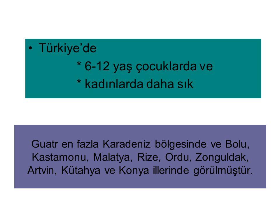 Türkiye'de * 6-12 yaş çocuklarda ve * kadınlarda daha sık