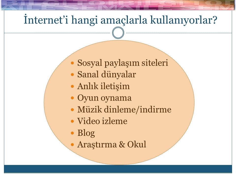 İnternet'i hangi amaçlarla kullanıyorlar