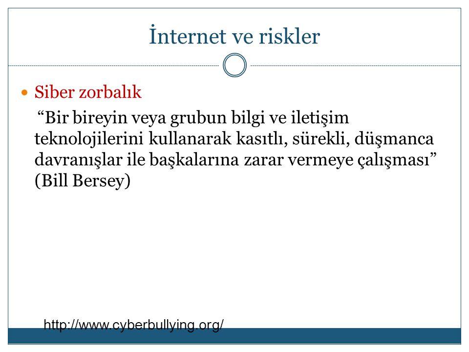 İnternet ve riskler Siber zorbalık