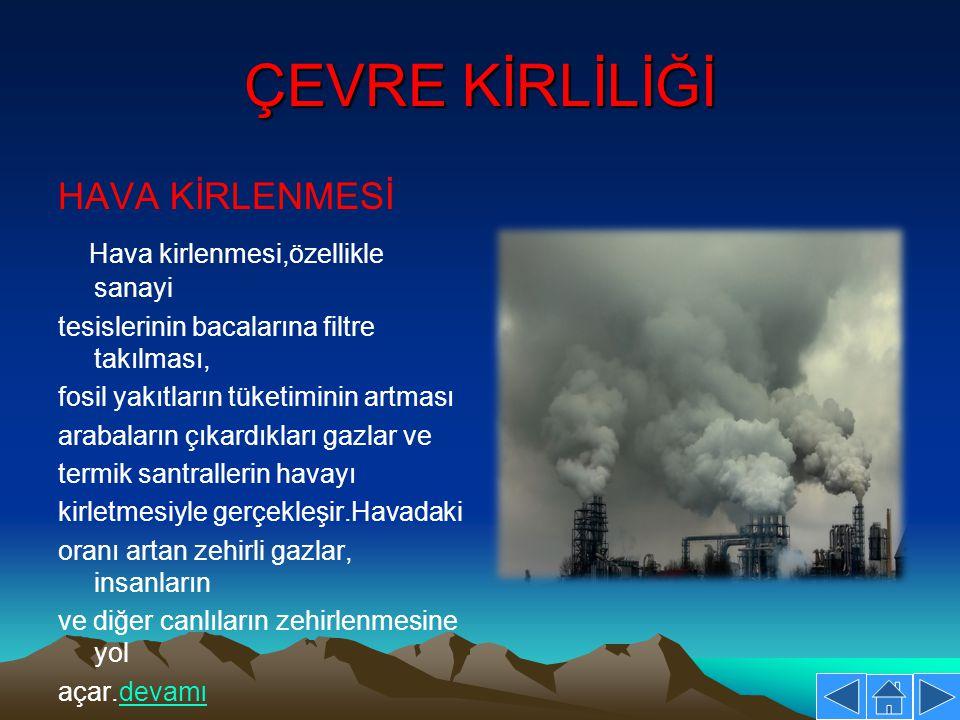 ÇEVRE KİRLİLİĞİ HAVA KİRLENMESİ Hava kirlenmesi,özellikle sanayi