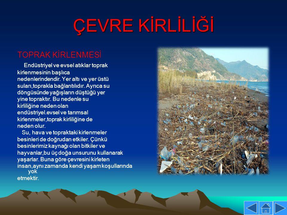 ÇEVRE KİRLİLİĞİ TOPRAK KİRLENMESİ Endüstriyel ve evsel atıklar toprak