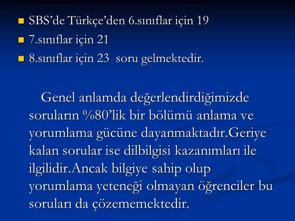 SBS'de Türkçe'den 6.sınıflar için 19