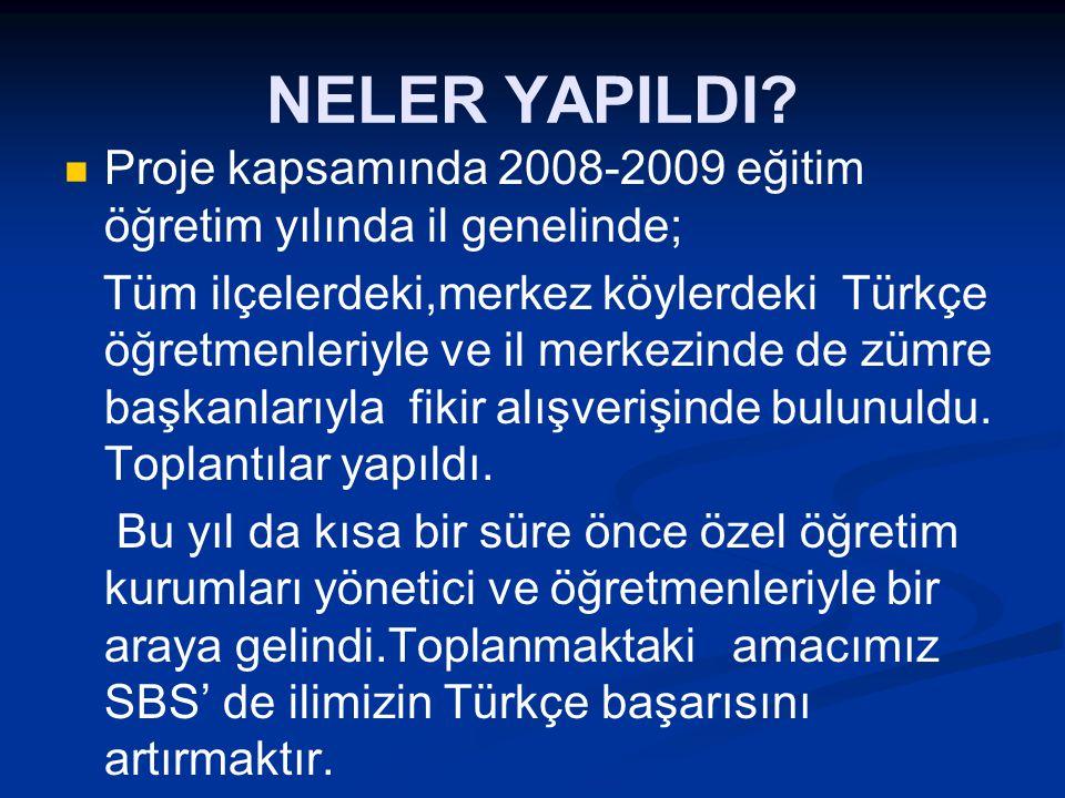 NELER YAPILDI Proje kapsamında 2008-2009 eğitim öğretim yılında il genelinde;