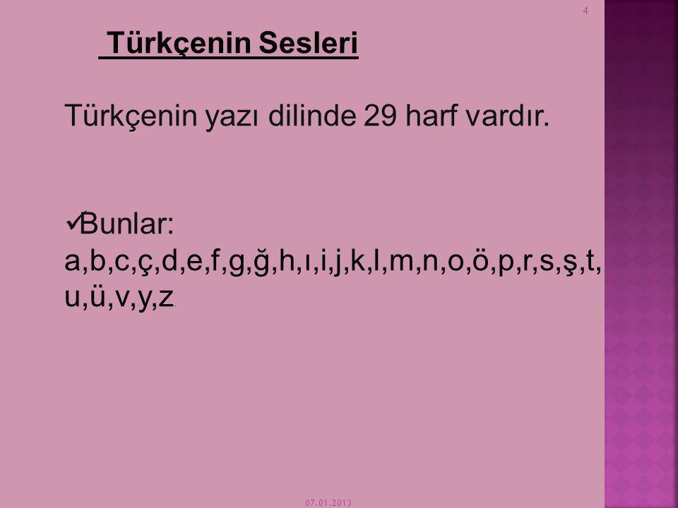Türkçenin yazı dilinde 29 harf vardır.