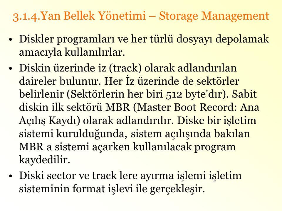 3.1.4.Yan Bellek Yönetimi – Storage Management