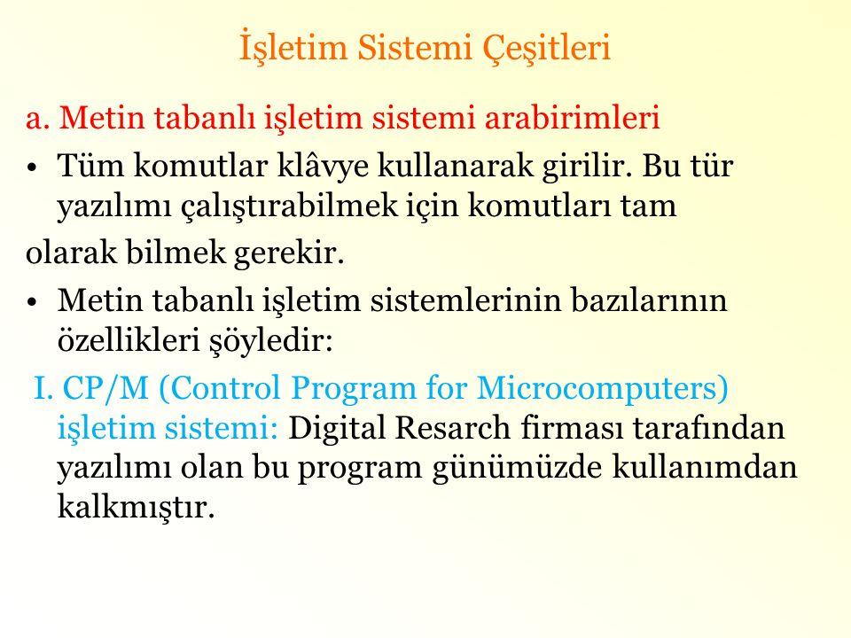 İşletim Sistemi Çeşitleri