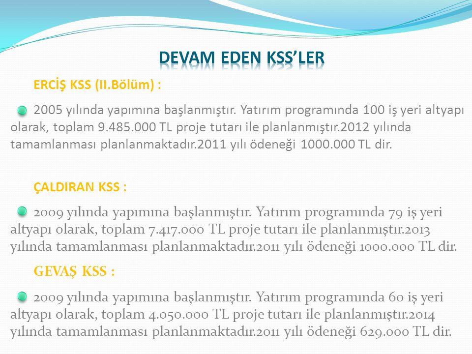 DEVAM EDEN KSS'LER ERCİŞ KSS (II.Bölüm) :