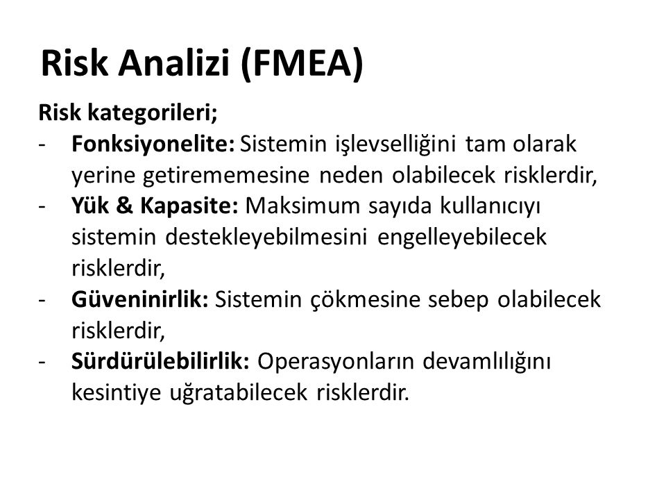 Risk Analizi (FMEA) Risk kategorileri;
