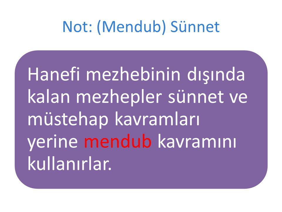 Not: (Mendub) Sünnet Hanefi mezhebinin dışında kalan mezhepler sünnet ve müstehap kavramları yerine mendub kavramını kullanırlar.