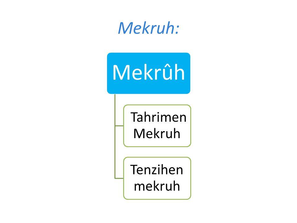 Mekruh: Mekrûh Tahrimen Mekruh Tenzihen mekruh