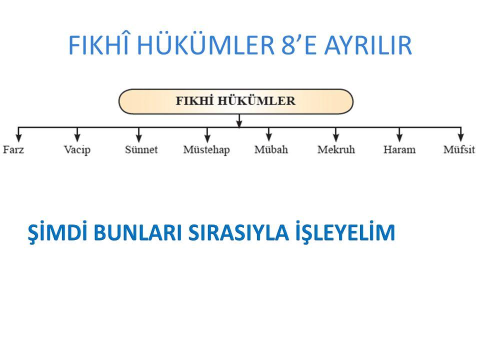 FIKHÎ HÜKÜMLER 8'E AYRILIR