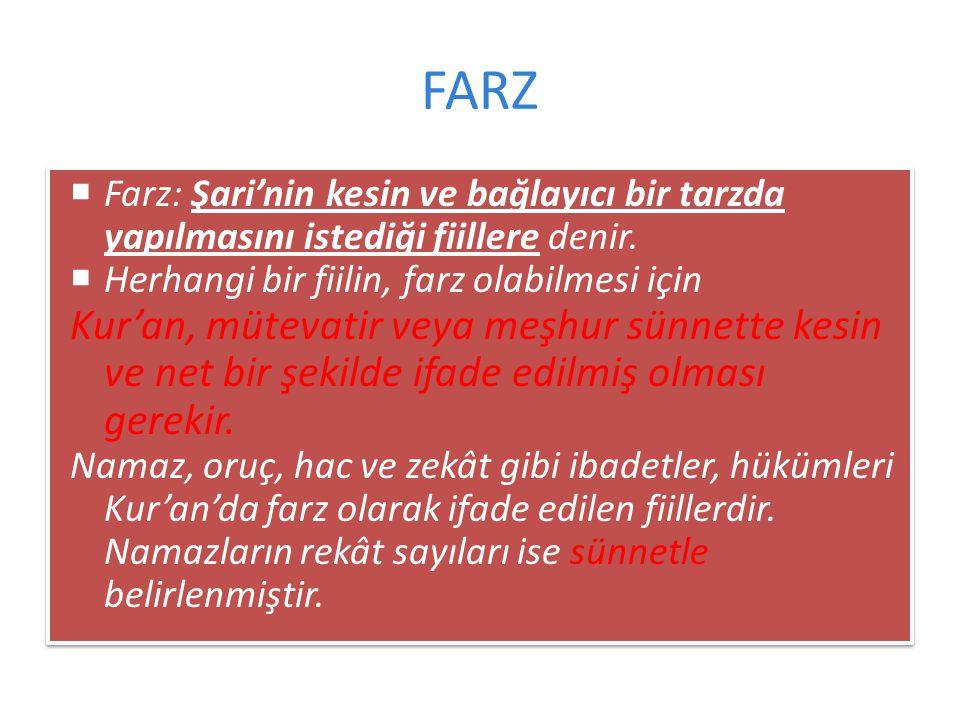 FARZ Farz: Şari'nin kesin ve bağlayıcı bir tarzda yapılmasını istediği fiillere denir. Herhangi bir fiilin, farz olabilmesi için.
