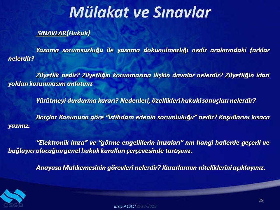 Mülakat ve Sınavlar SINAVLAR(Hukuk)