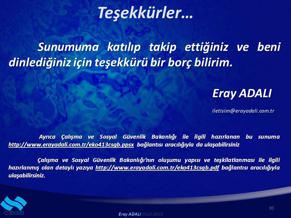 Teşekkürler… Eray ADALI iletisim@erayadali.com.tr
