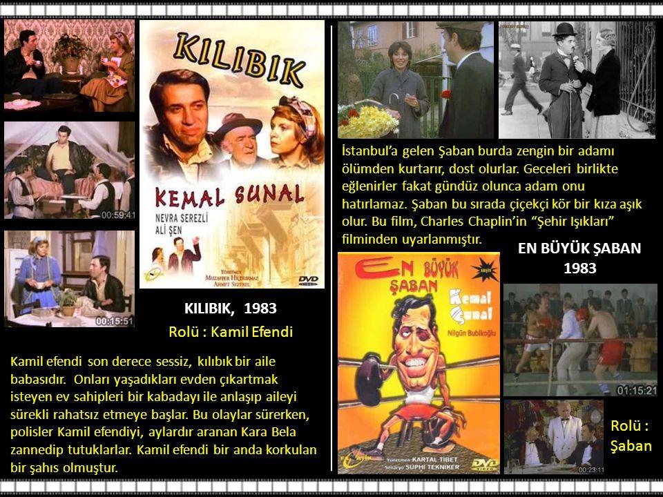 EN BÜYÜK ŞABAN 1983 KILIBIK, 1983 Rolü : Kamil Efendi Rolü : Şaban