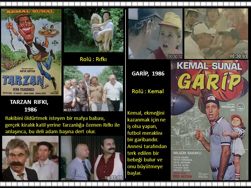Rolü : Rıfkı GARİP, 1986 Rolü : Kemal TARZAN RIFKI, 1986