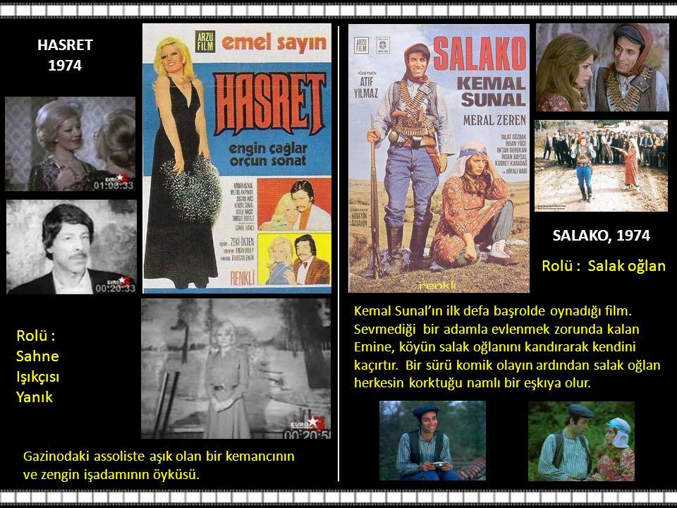 HASRET 1974 SALAKO, 1974 Rolü : Salak oğlan Rolü : Sahne Işıkçısı