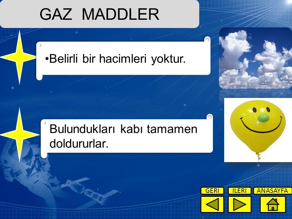 GAZ MADDLER Belirli bir hacimleri yoktur.