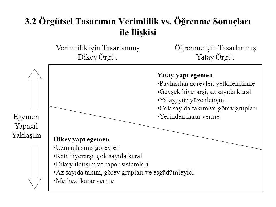 3.2 Örgütsel Tasarımın Verimlilik vs. Öğrenme Sonuçları ile İlişkisi
