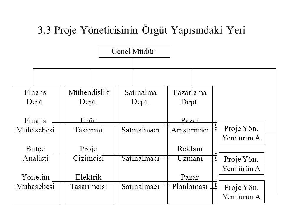 3.3 Proje Yöneticisinin Örgüt Yapısındaki Yeri