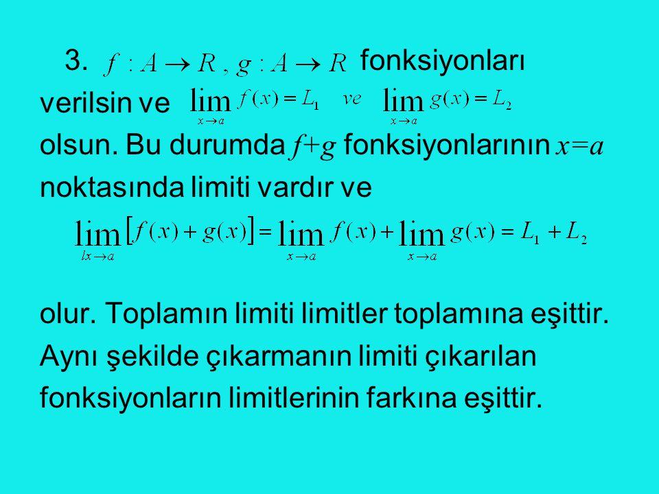 3. fonksiyonları verilsin ve. olsun. Bu durumda f+g fonksiyonlarının x=a. noktasında limiti vardır ve.