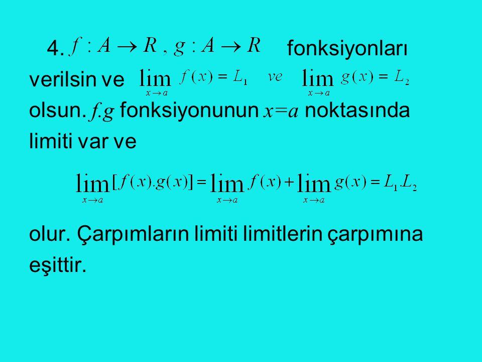 4. fonksiyonları verilsin ve. olsun. f.g fonksiyonunun x=a noktasında. limiti var ve.