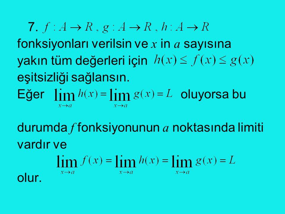 7. fonksiyonları verilsin ve x in a sayısına. yakın tüm değerleri için. eşitsizliği sağlansın.