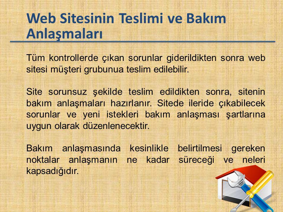 Web Sitesinin Teslimi ve Bakım Anlaşmaları