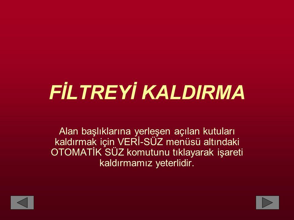 FİLTREYİ KALDIRMA