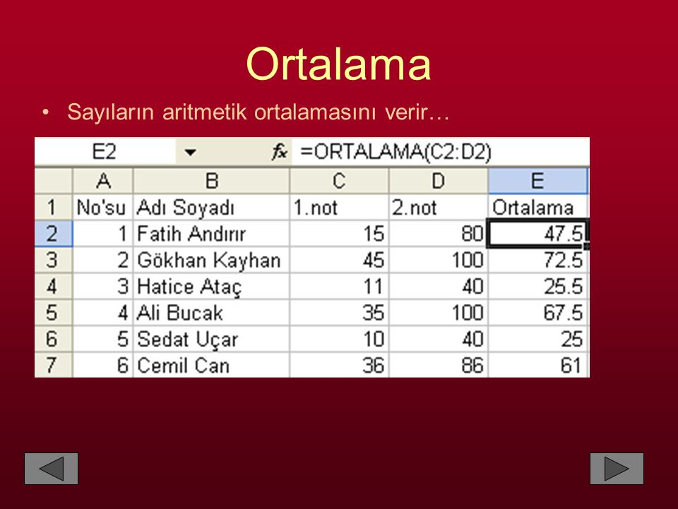 Ortalama Sayıların aritmetik ortalamasını verir…