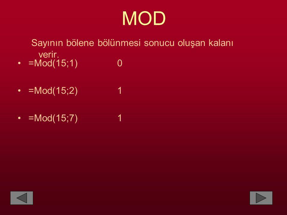 MOD Sayının bölene bölünmesi sonucu oluşan kalanı verir. =Mod(15;1) 0