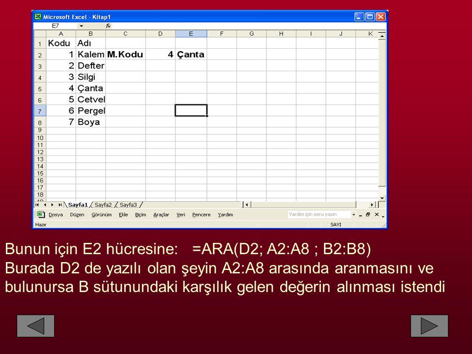 Bunun için E2 hücresine: =ARA(D2; A2:A8 ; B2:B8)