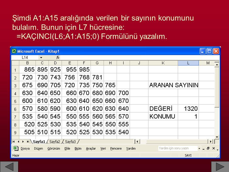 Şimdi A1:A15 aralığında verilen bir sayının konumunu bulalım