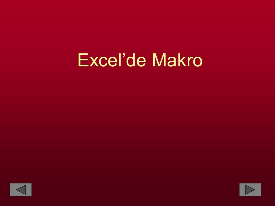 Excel'de Makro