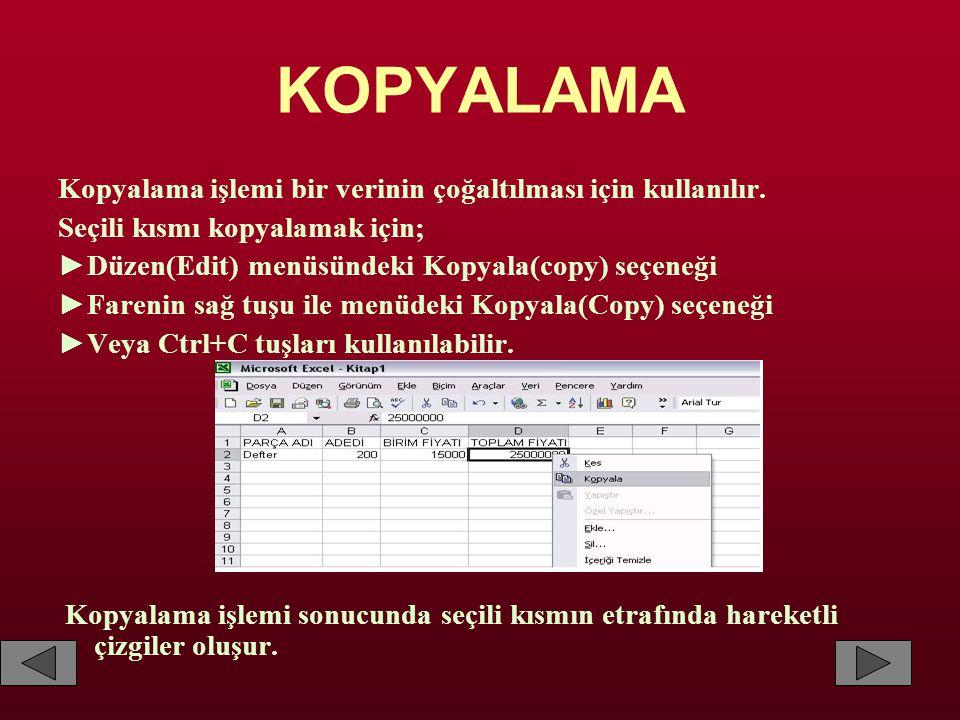 KOPYALAMA Kopyalama işlemi bir verinin çoğaltılması için kullanılır.