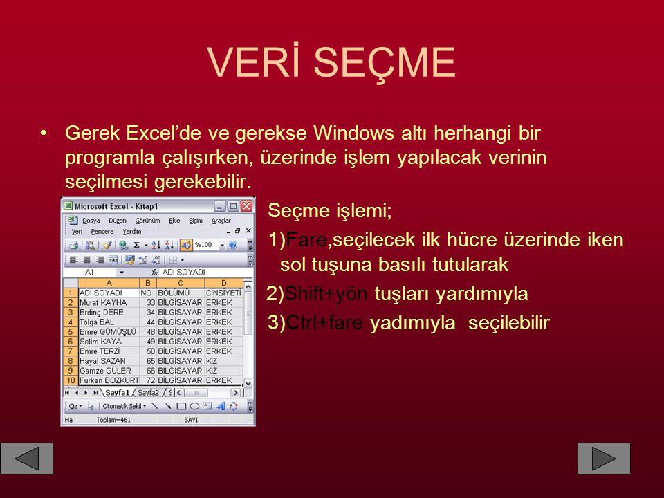 VERİ SEÇME Gerek Excel'de ve gerekse Windows altı herhangi bir programla çalışırken, üzerinde işlem yapılacak verinin seçilmesi gerekebilir.