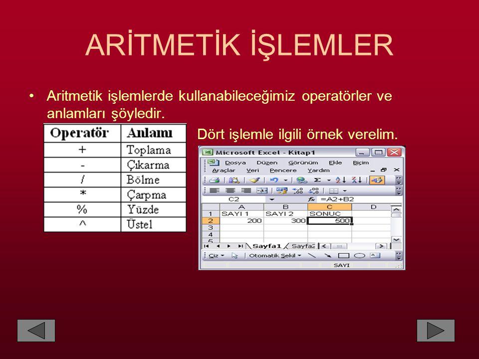 ARİTMETİK İŞLEMLER Aritmetik işlemlerde kullanabileceğimiz operatörler ve anlamları şöyledir.
