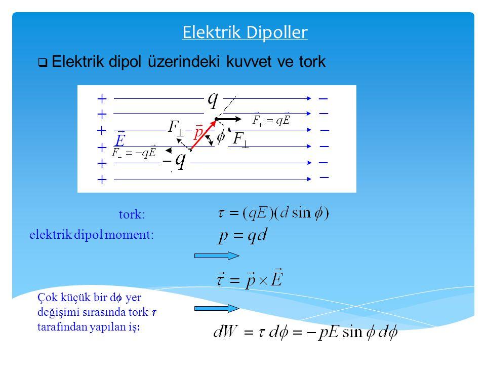 Elektrik Dipoller tork: elektrik dipol moment: