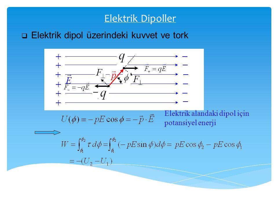 Elektrik Dipoller Elektrik alandaki dipol için potansiyel enerji